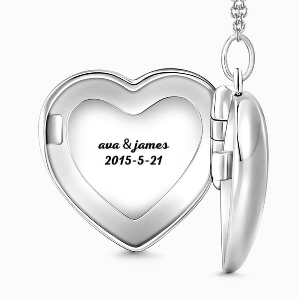 Embossed Printing Heart Locket Photo Necklace with Engraving Platinum Plated