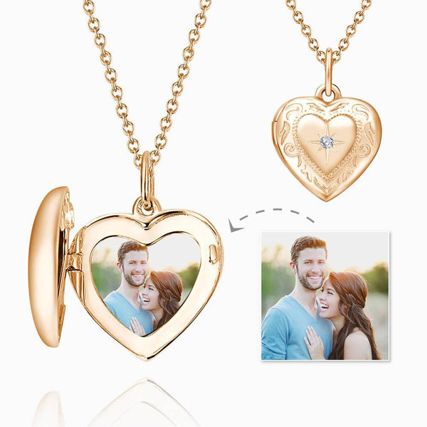 Embossed Printing Heart Locket Photo Necklace Rose Gold Plated