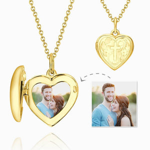 Embossed Cross Printing Heart Photo Locket Necklace With Engraving 14k Gold Plated