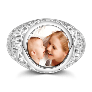 Round Mother's Photo Ring For Mom