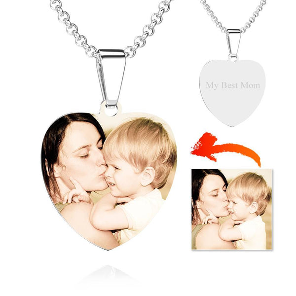 Stainless Steel Photo Heart Tag Necklace Engraved Pendant