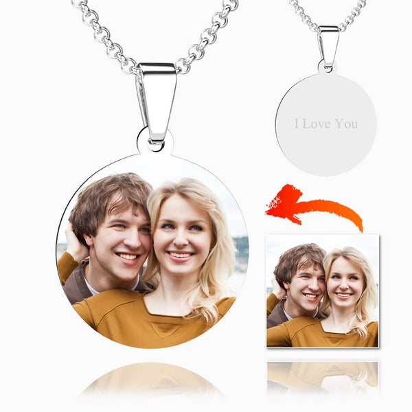 Round With Border Photo Engraved Necklace Stainless Steel Tag Pendant For Mom