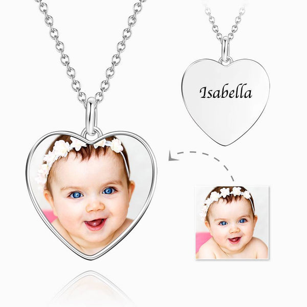 Personalized Gift Children's Heart Photo Necklace with Engraving Platinum Plated