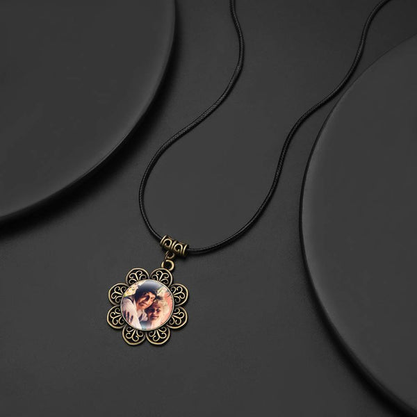 Vintage Round Photo Necklace with Floral Border