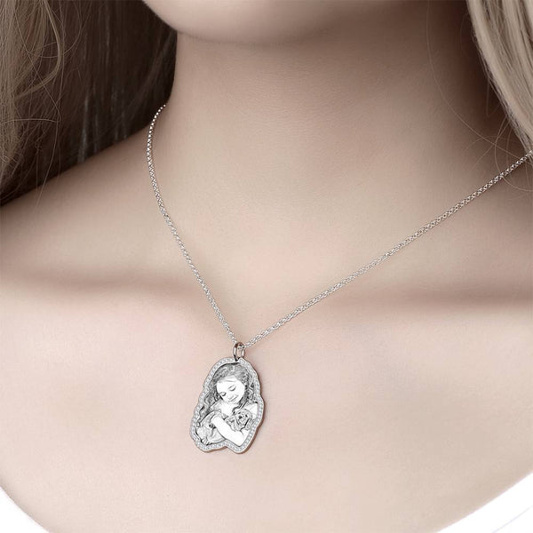 Sketch Photo Engraved Necklace with Rhinestone Crystal Silver Plated Silver
