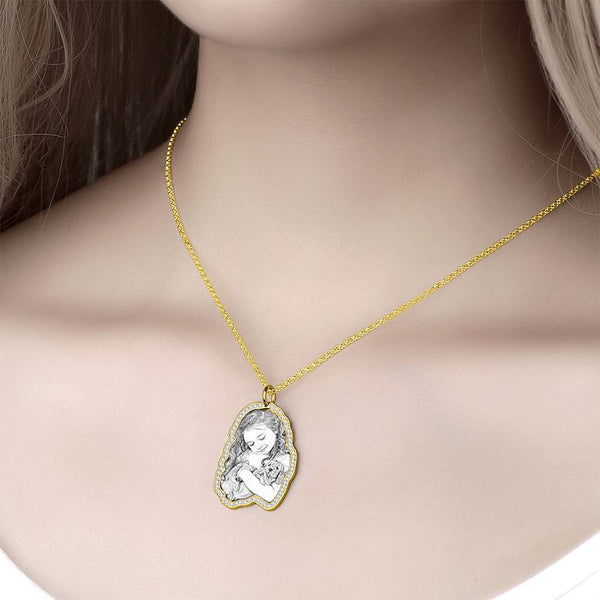 Sketch Photo Engraved Necklace with Rhinestone Crystale 14K Gold Plated