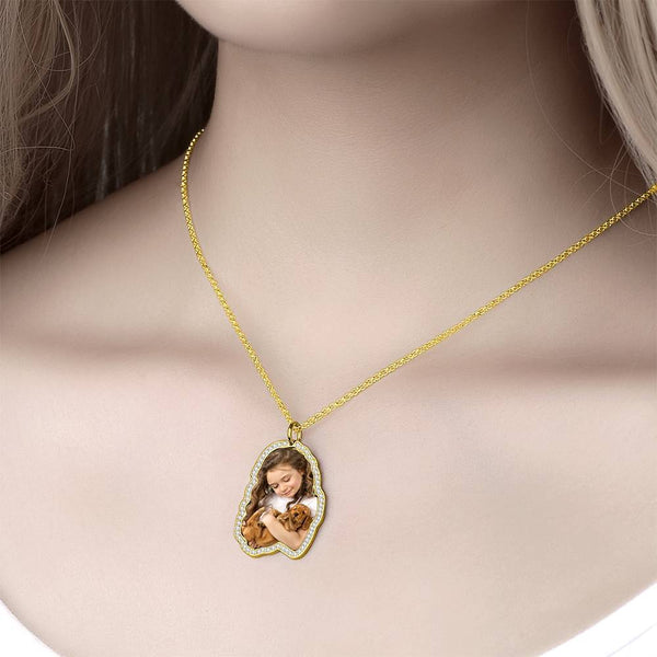 Colorful Photo Engraved Necklace with Rhinestone Crystal 14K Gold Plated