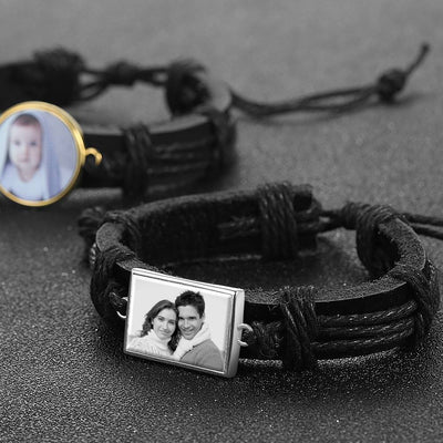 Photocopying Black Leather Square-shaped Photo Bracelet Silver Plated