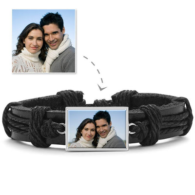 Colorful Black Leather Square-shaped Photo Bracelet Silver Plated