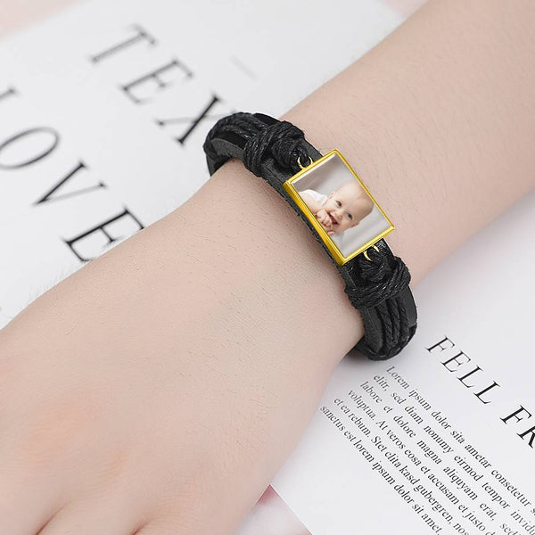 Colorful Black Leather Square-shaped Photo Bracelet 14K Gold Plated