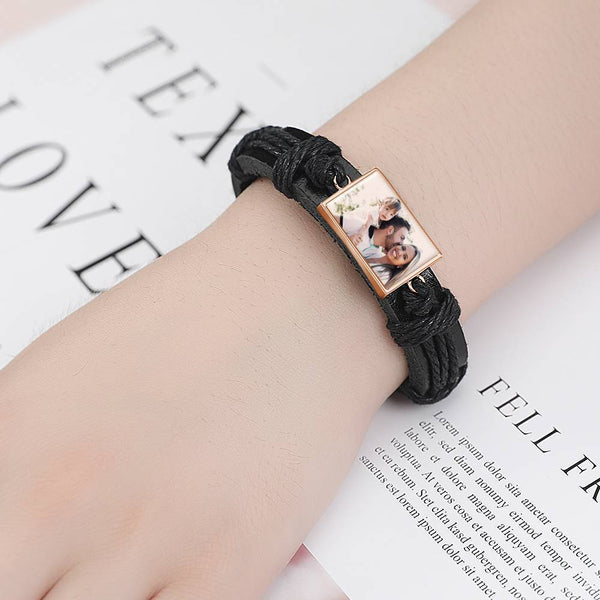 Colorful Black Leather Square-shaped Photo Bracelet Rose Gold Plated