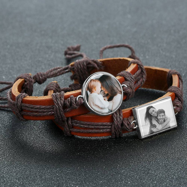 Photocopying Brown Leather Square-shaped Photo Bracelet Silver Plated