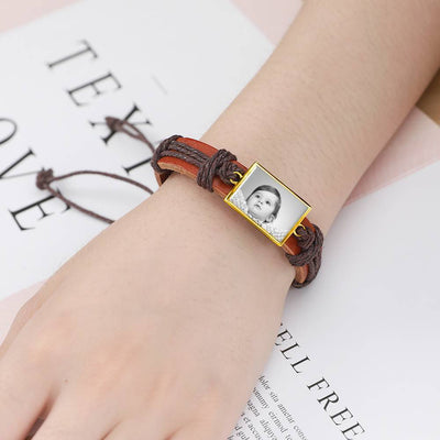 Photocopying Brown Leather Square-shaped Photo Bracelet 14K Gold Plated