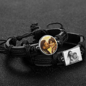 Colorful Black Leather Round-shaped Photo Bracelet Silver Plated