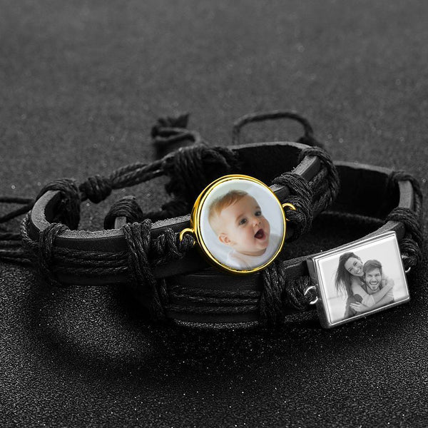 Colorful Black Leather Round-shaped Photo Bracelet 14K Gold Plated