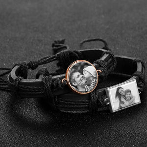 Photocopying Black Leather Round-shaped Photo Bracelet Rose Gold Plated