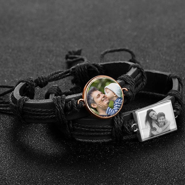 Colorful Black Leather Round-shaped Photo Bracelet Rose Gold Plated