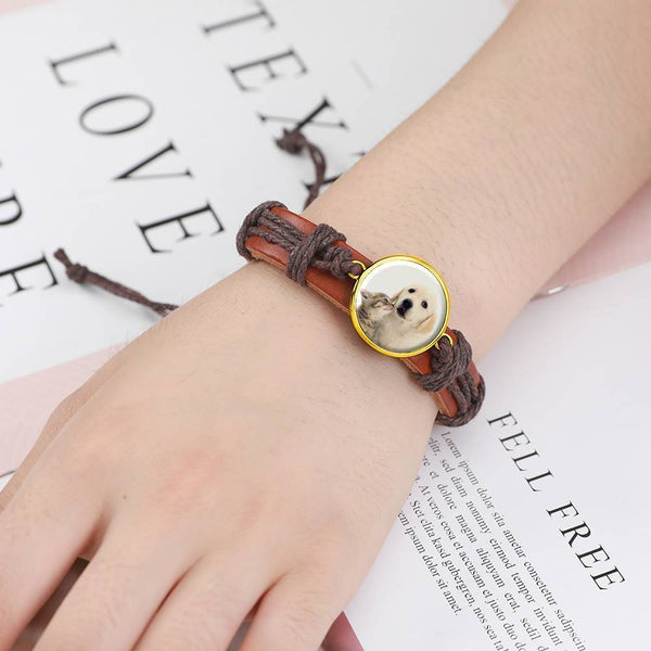 Colorful Brown Leather Round-shaped Photo Bracelet 14K Gold Plated