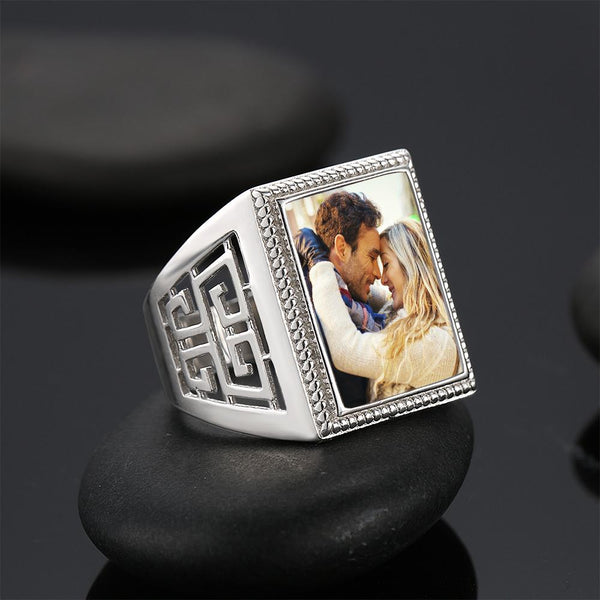 Custom  Mother's Gifts Photo Ring Square Photo Platinum Plated