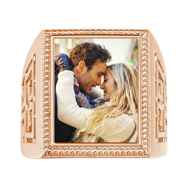 Custom  Mother's Gifts Photo Ring Square Photo 14K Gold Plated