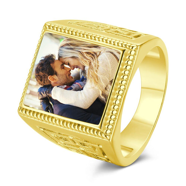 Custom Photo Ring Square Photo with Hollow Rose Gold Plated  Gifts