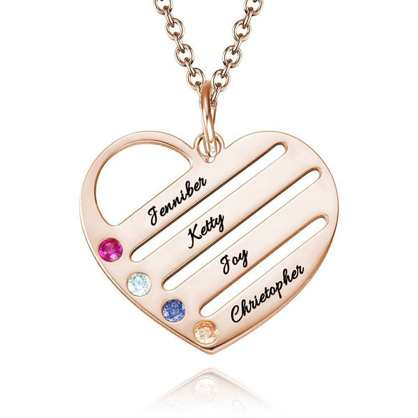 Engraved Heart Birthstone Necklace with Copper in Rose Gold
