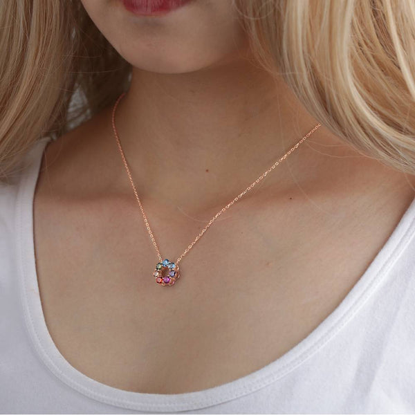 Exquisite Personality Flower Necklace Copper in Rose Gold
