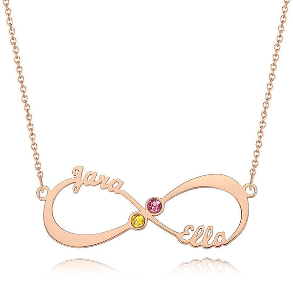 Name Necklace with Birthstone Infinity Necklace Rose Gold Plated