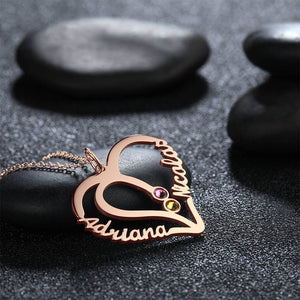 Custom Personality Heart Two Name Birthstone Necklace Rose Gold Plated