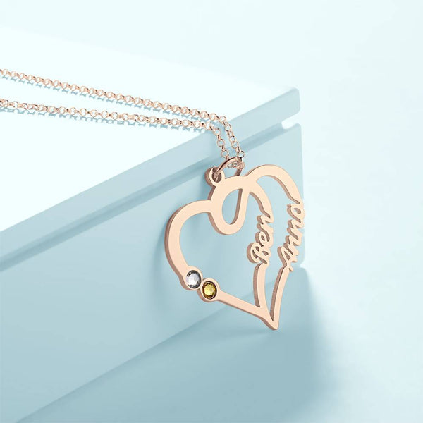 Custom Personality Overlapping Heart Two Name Birthstone Necklace Rose Gold Plated