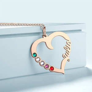 Custom Heart Shape Name Necklace With Birthstone Rose Gold Plated