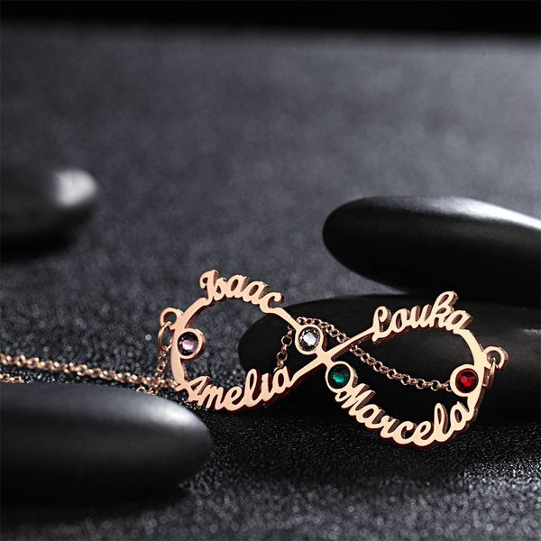 Personalized Infinity Name Necklace With Custom Birthstone Rose Gold Plated