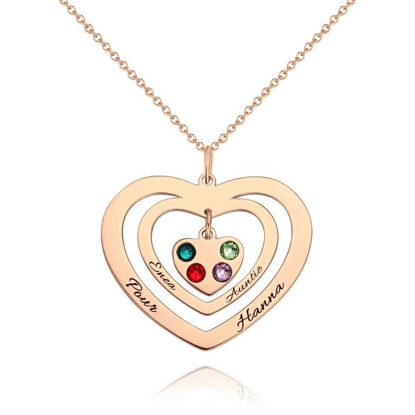 Personalized Heart Two Name Necklace, Engraved Necklace with Custom Birthstone Rose Gold Plated