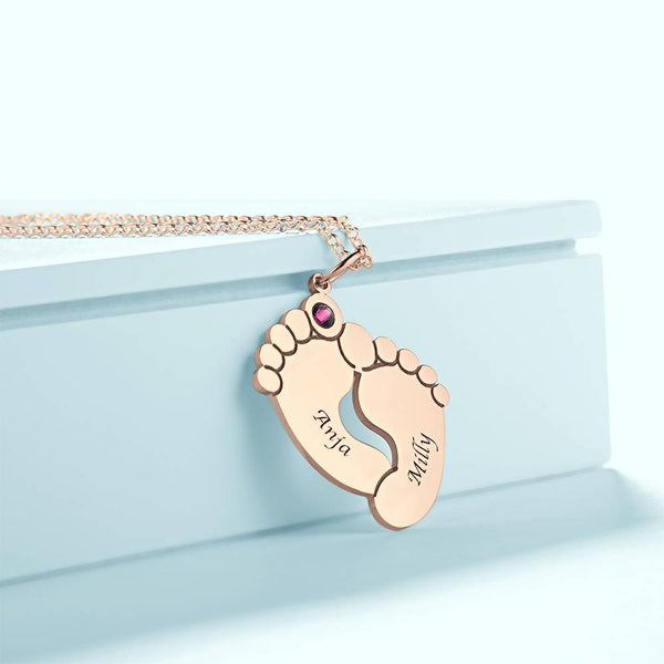 Personalized Baby Foot Oval Shaped Necklace, Engraved Necklace with Custom Birthstone Rose Gold Plated