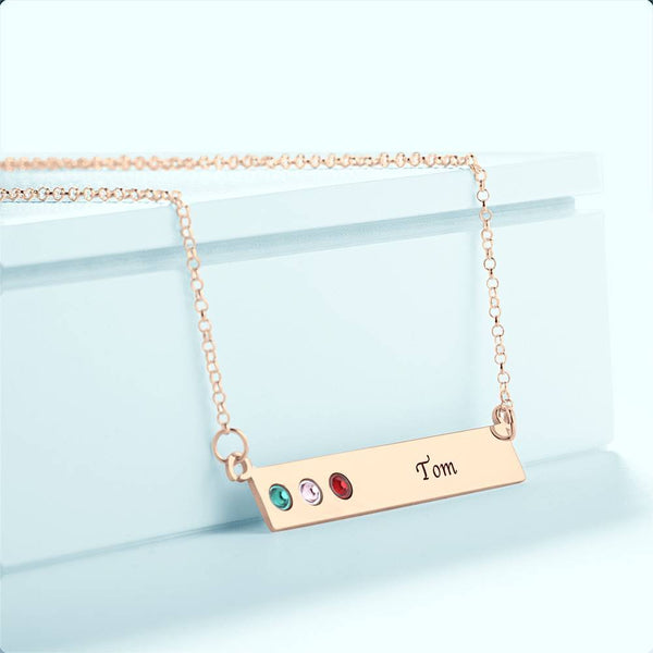 Personalized Birthstone Necklace, Engravable Bar Necklace Rose Gold Plated