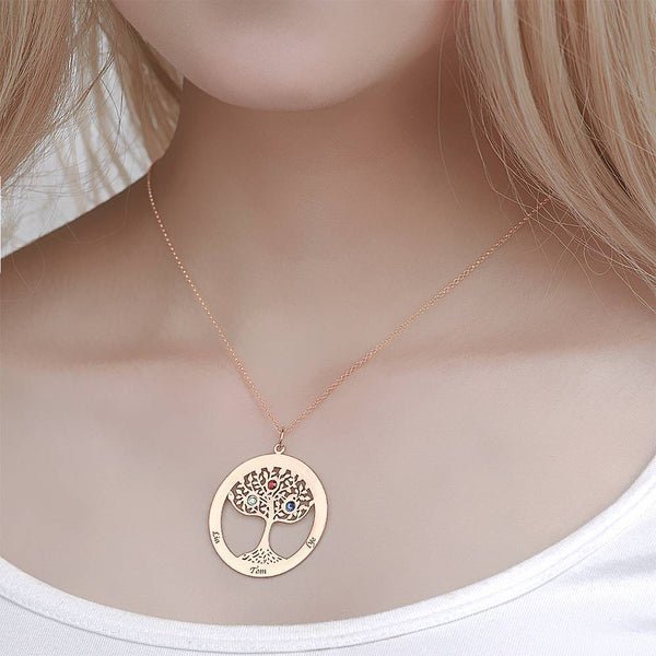 Family Tree Engraved Name Necklace with Custom Birthstone Rose Gold Plated