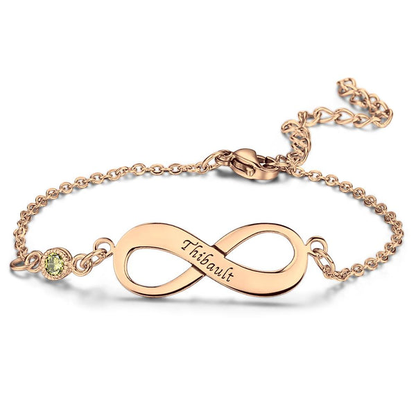 Infinity Bracelet With Birthstone Rose Gold For Her