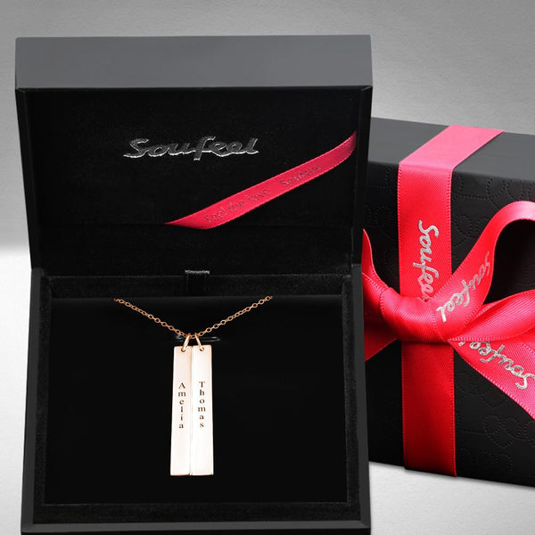 Vertical Two Bar Necklace With Engraving Rose Gold Plated