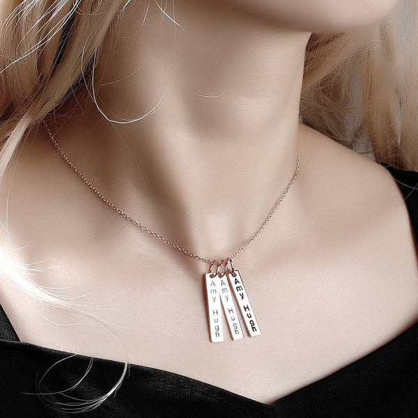 Bar Engraved Bar Necklace Rose Gold Plated -  Love Name Necklace