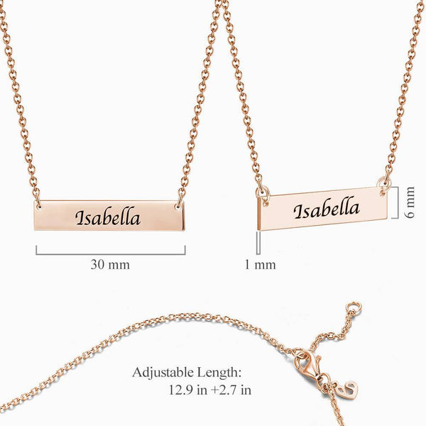 Personalized Gift Children's Engraved Bar Necklace Rose Gold Plated