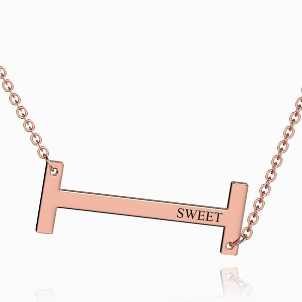 Engraved Alphabet I Initial Necklace Rose Gold Plated
