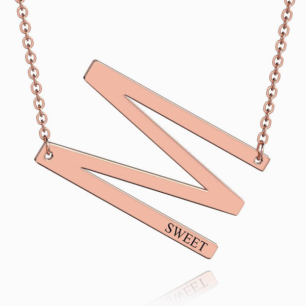 Engraved Alphabet N Initial Necklace Rose Gold Plated
