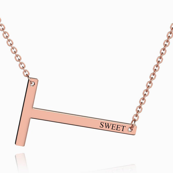 Engraved Alphabet T Initial Necklace Rose Gold Plated