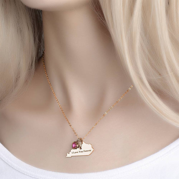 U.S. State Engraved Necklace with Custom Birthstone Rose Gold Plated