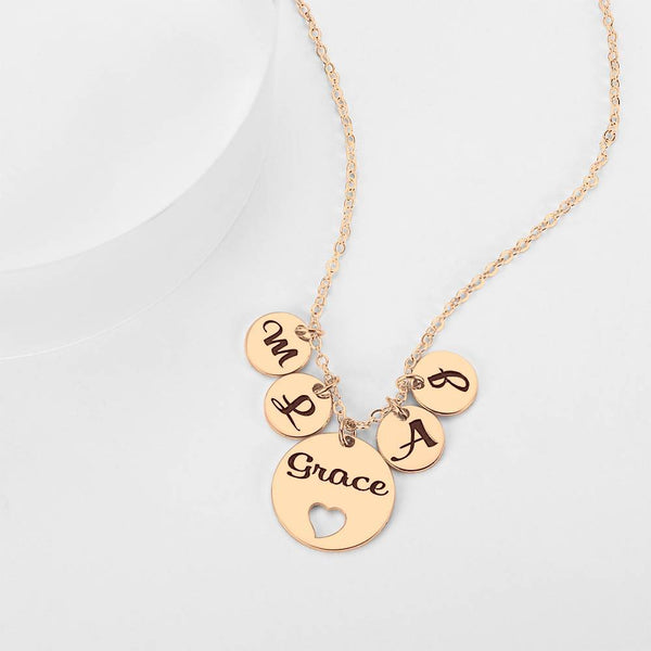 Four Initial Letters with Hollow Heart Engraved Necklace Rose Gold Plated