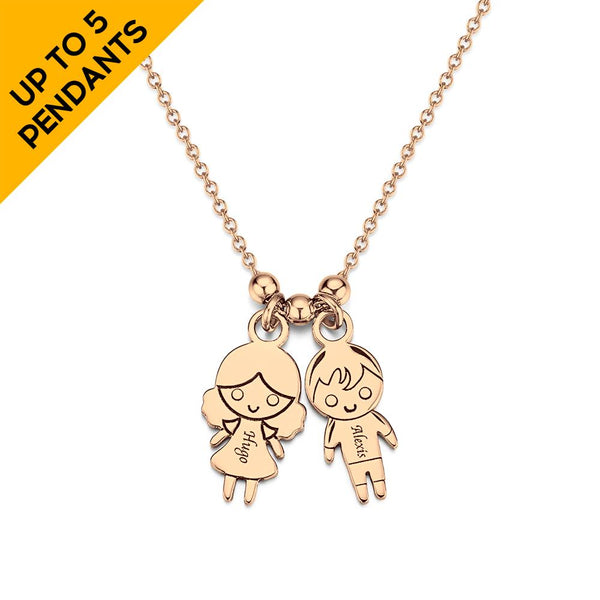 Personalized Initial Necklace with Children Charm Mother Necklace Rose Gold Plated