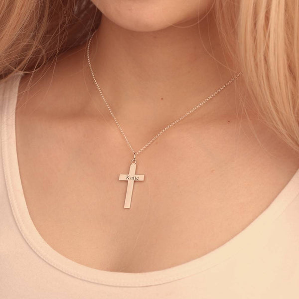 Engraved Necklace Personality Cross Necklace Rose Gold Plated