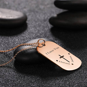 Men's Engraved Dog Tag Name Necklace, Cross Necklace Rose Gold Plated