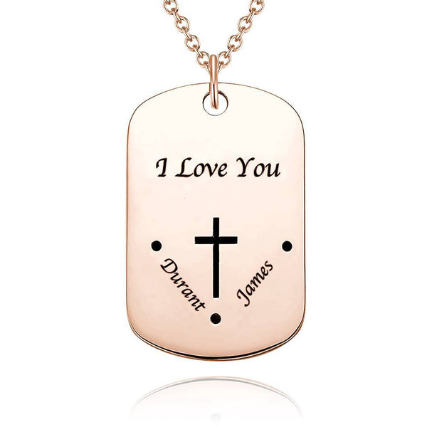 Men's Engraved Dog Tag Name Necklace, Valentine's Day Gifts Cross Necklace Platinum Plated
