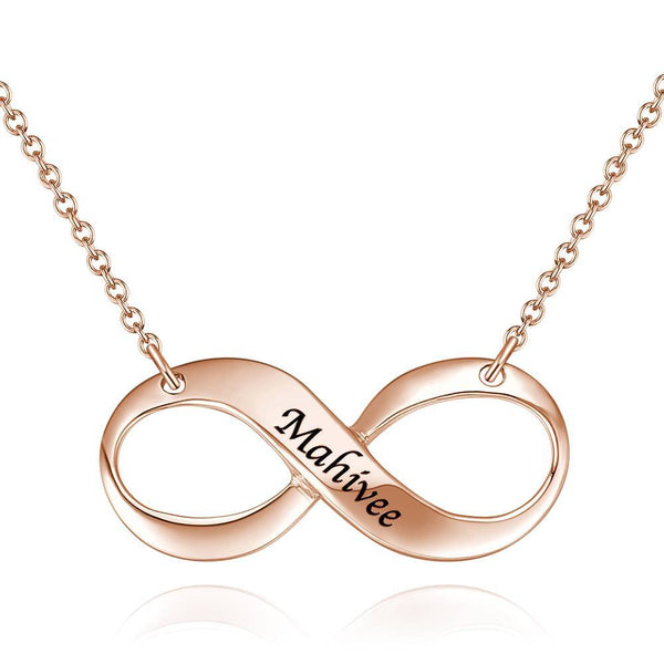 Engraved Necklace, Infinity Love Necklace Rose Gold Plated